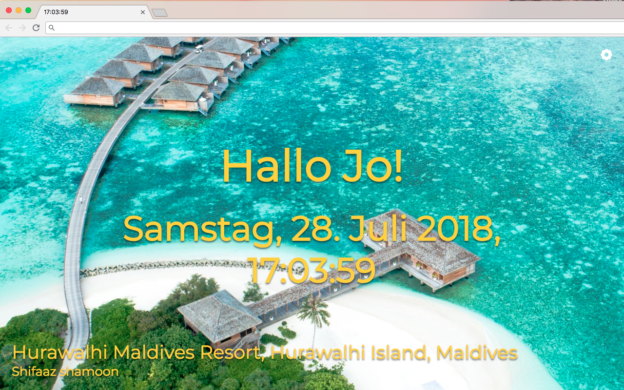 Pretty New Tab von Pineapple Developer, Inhaber Johannes Schuh - Screenshot des Chrome Extensions