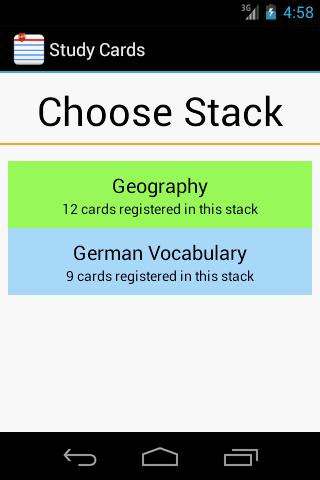 StudyCards by Pineapple Developer, owner Johannes Schuh - Screenshot of the Android App