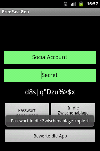 PassGen by Pineapple Developer, owner Johannes Schuh - Screenshot of the Android App